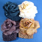 "2.5"" Stretch Crochet Headwrap w/ Glitter Flower Blk/Browns (233E4)"