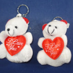"3.5"" Plush Bear Keychain w/ I Love You Heart .54 ea"