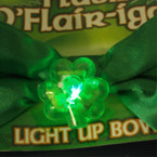 Green Satin St. Patrick's Light Up Bowtie 24 per pack