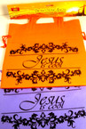 2 Pk Jesus is Cool Pull String Cloth Bags 24 sets per pack