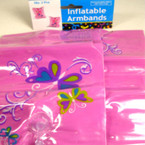 Girls Pink Inflatable Armbands w/ Print 6 sets per pack