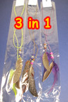 3 in 1 Feather Necklace.Headwrap,Belt Asst Colors .40 ea