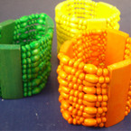 "2"" Wide Multi Line Wood Stretch Bracelet Asst Bright Colors .54 ea"