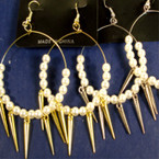 "2"" Gold & Silver Hoop Earring w/ Pearls & Dangle Spikes .45 ea"