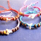 Colored Braid Cord Bracelet w/ Wood Bead & Real Shark Tooth