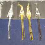 "3.5"" Bead Chain Earring w/ Crystal Stones 3 colors .25 ea"