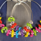 "3"" Jumbo Silver Hoop Earring w/ Multi Color Beads"