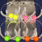 "3"" Jumbo Silver Hoop Earring w/ Neon Colored Bead .33 ea"