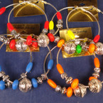"3"" Lg. Silver Hoop Earring w/ Silver & Neon Color Beads REDUCED .33 ea"