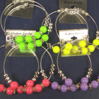 "3"" Large Silver Hoop Earring w/ Neon Color Beads .50 ea"