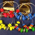 "3"" Silver Hoop Jumbo Earring w/ Neon Wood Beads & Silver Disc .50 ea"