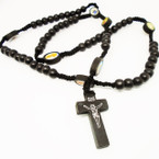 All Black Wood Beaded Rosary w/ Cross w/ Jesus .54 ea