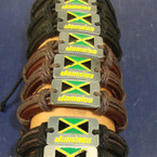 Teen Leather Bracelet w/ Jamaica County Flag .54 ea