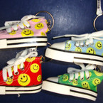 "3"" Yellow Happy Face  Sneaker Keychain .54 ea"
