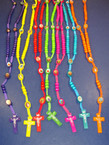 "36"" Colorful Wood Beaded Rosary w/ Cross w/ Jesus .54 ea"