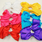"6"" Jumbo Gro Grain Bow on Gator Clip Asst Bright Colors .45 ea"