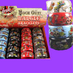 1.5&quot; Wide Ink Print Rock Out Bangle Bracelets 24 per display