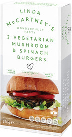 Linda McCartney's 2 Vegetarian Mushroom & Spinach Burgers