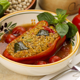 Stuffed Capsicum in Cherry Tomato Juice