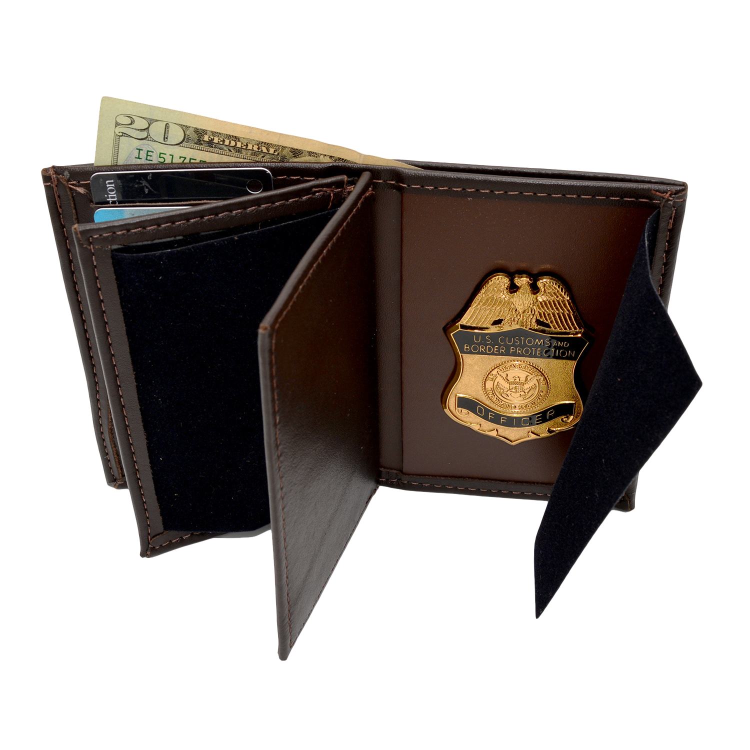 CBP Brown Leather Badge Wallet