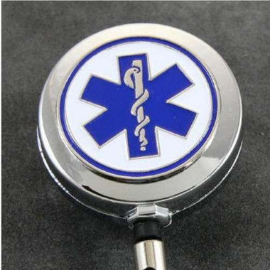 Medical Star of Life Retractable Badge Reel ID Holder Chrome