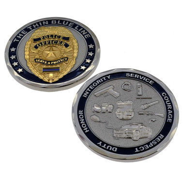 Thin Blue Line Police Officer Challenge Coin