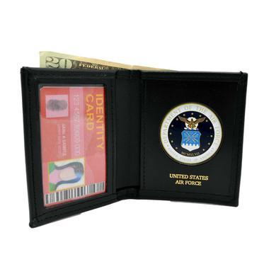 U. S. Air Force Medallion Mens Black Leather Bi Fold Billfold Wallet