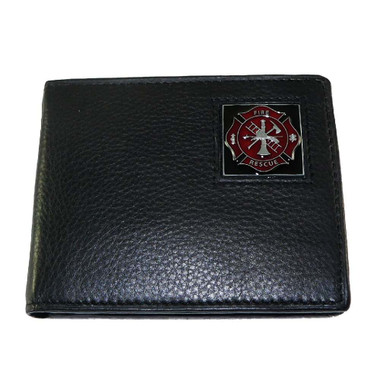 Firefighter Maltese Cross Bifold Leather Wallet with Emblem