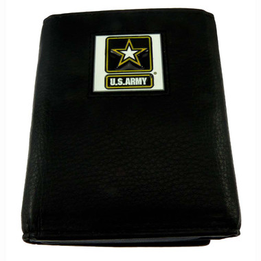 U S Army Trifold Leather Wallet with Go Army Emblem