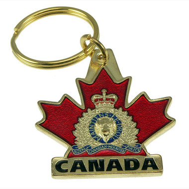 Royal Canadian Mounted Police (RCMP) Crest Maple Leaf Key Ring