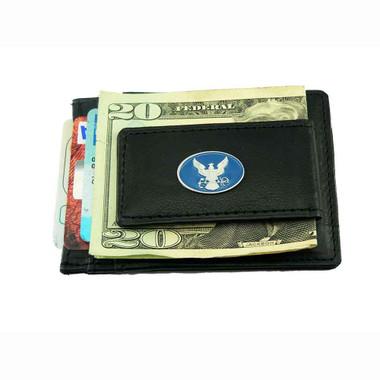 U S Navy Slimline Leather Money Clip Card Holder Wallet