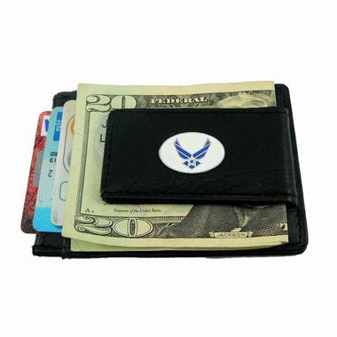 U S Air Force Slim Wallet Leather Money Clip Card Holder