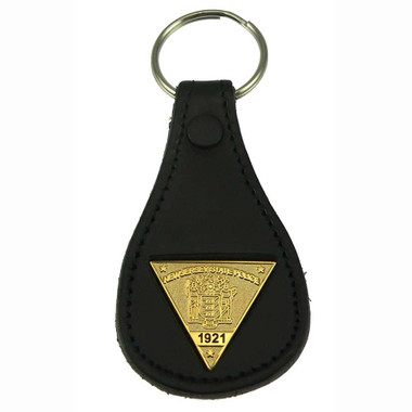 New Jersey State Police Mini Badge Leather Key Ring