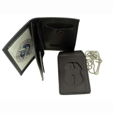 4 in 1 Leather Badge and Double ID Case w/ Chain