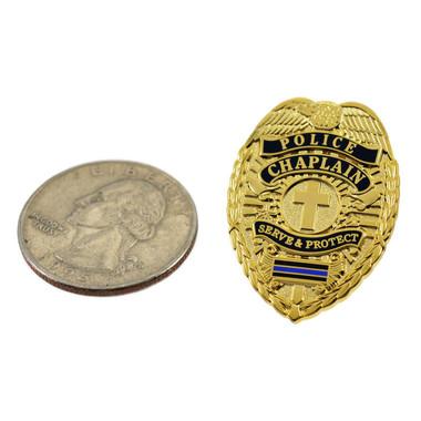 Police Chaplain Blue Line Mini Badge Lapel Pin