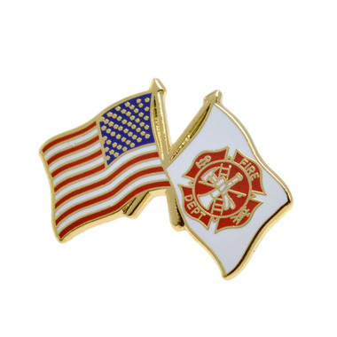 Fire Department USA Crossed Flags Lapel Pin