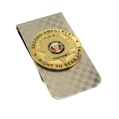 Second Amendment Gun Permit Silver Money Clip