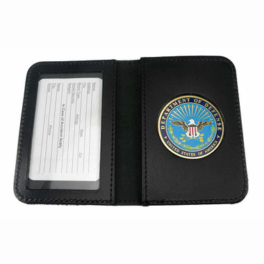 DOD Defense Department Leather Single ID Card Holder