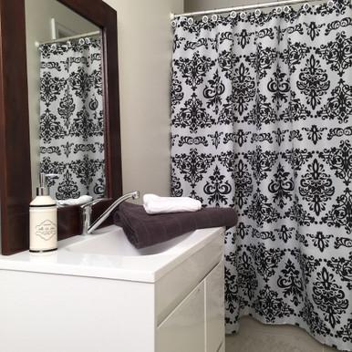 damask shower curtain 12 decorative hooks white black quickfit blinds and curtains. Black Bedroom Furniture Sets. Home Design Ideas