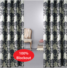 MILAN Damask Blockout Eyelet Curtains  250cm drop Xlong and Xwide - Black and Latte