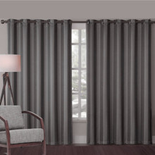 ALBERTA CHARCOAL GREY EYELET CURTAINS