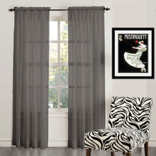 ORGANZA SHEER VOILE ROD POCKET CURTAIN CHARCOAL
