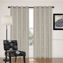Newcastle Silver Beige Damask Eyelet Curtains