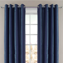 Villa faux Silk Shantung Look Eyelet Curtain Panel Navy Blue | 4 Sizes