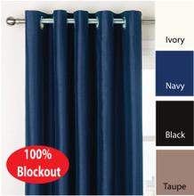 VILLA  Blockout Eyelet Curtain Pair Textured Shantung Avail 4 sizes NAVY BLUE