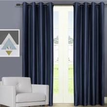 Villa faux Silk Shantung Look Eyelet Curtain Panel Navy Blue | 4 Sizes