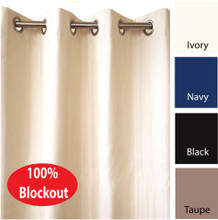 VILLA Blockout Eyelet Curtain Pair Faux Silk Look Avail 4 sizes IVORY