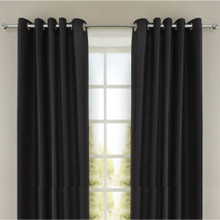 Villa faux Silk Shantung Look Eyelet Curtain Panels Black | 4 Sizes