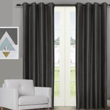 Villa faux Silk Shantung Look Eyelet Curtain Panels Black | 4 Sizes