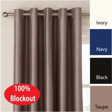 VILLA Blockout Eyelet Curtain Pair Textured Faux Silk Avail 4 sizes TAUPE